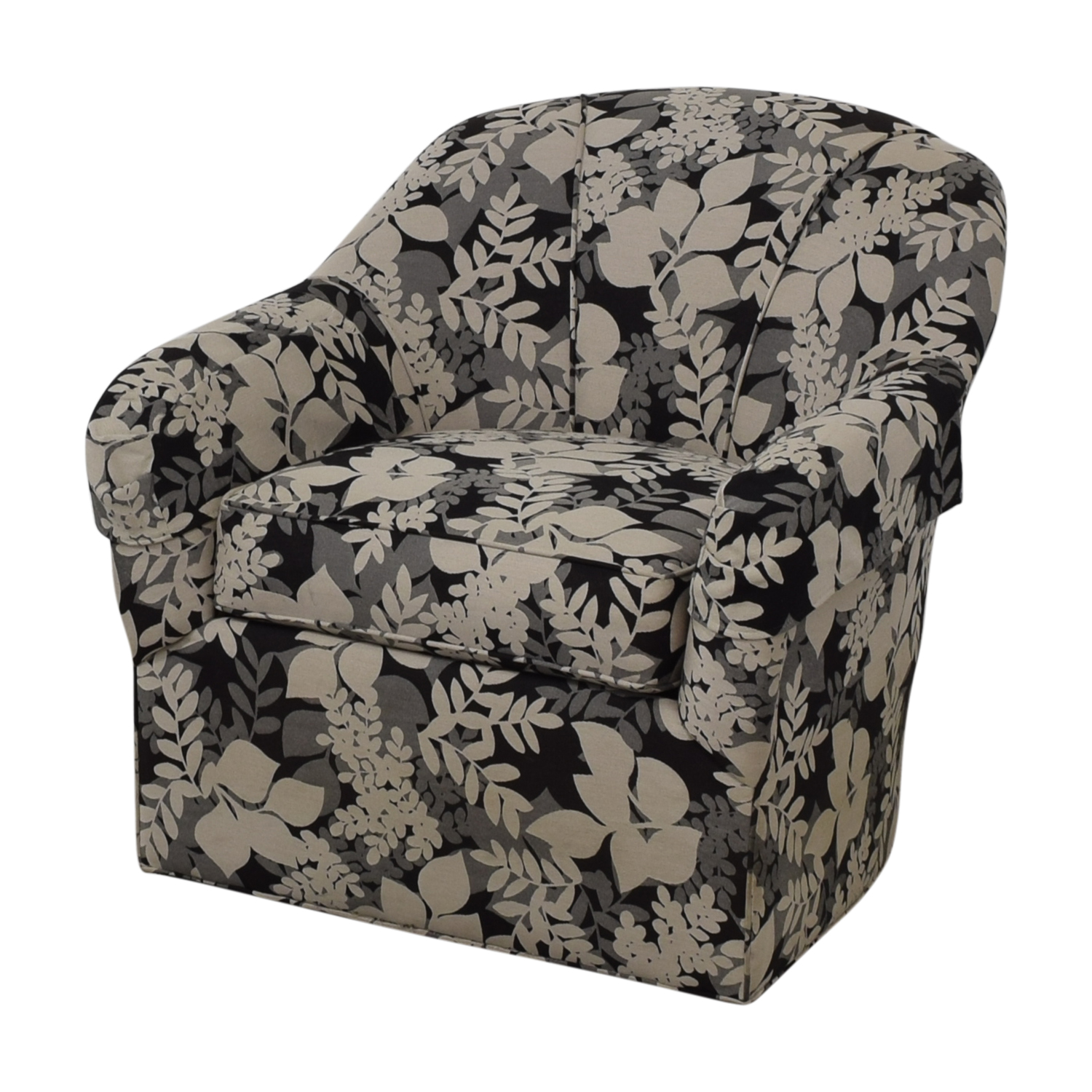 Ethan Allen Ethan Allen Black White and Grey Leaf Pattern Swivel Arm Chair price