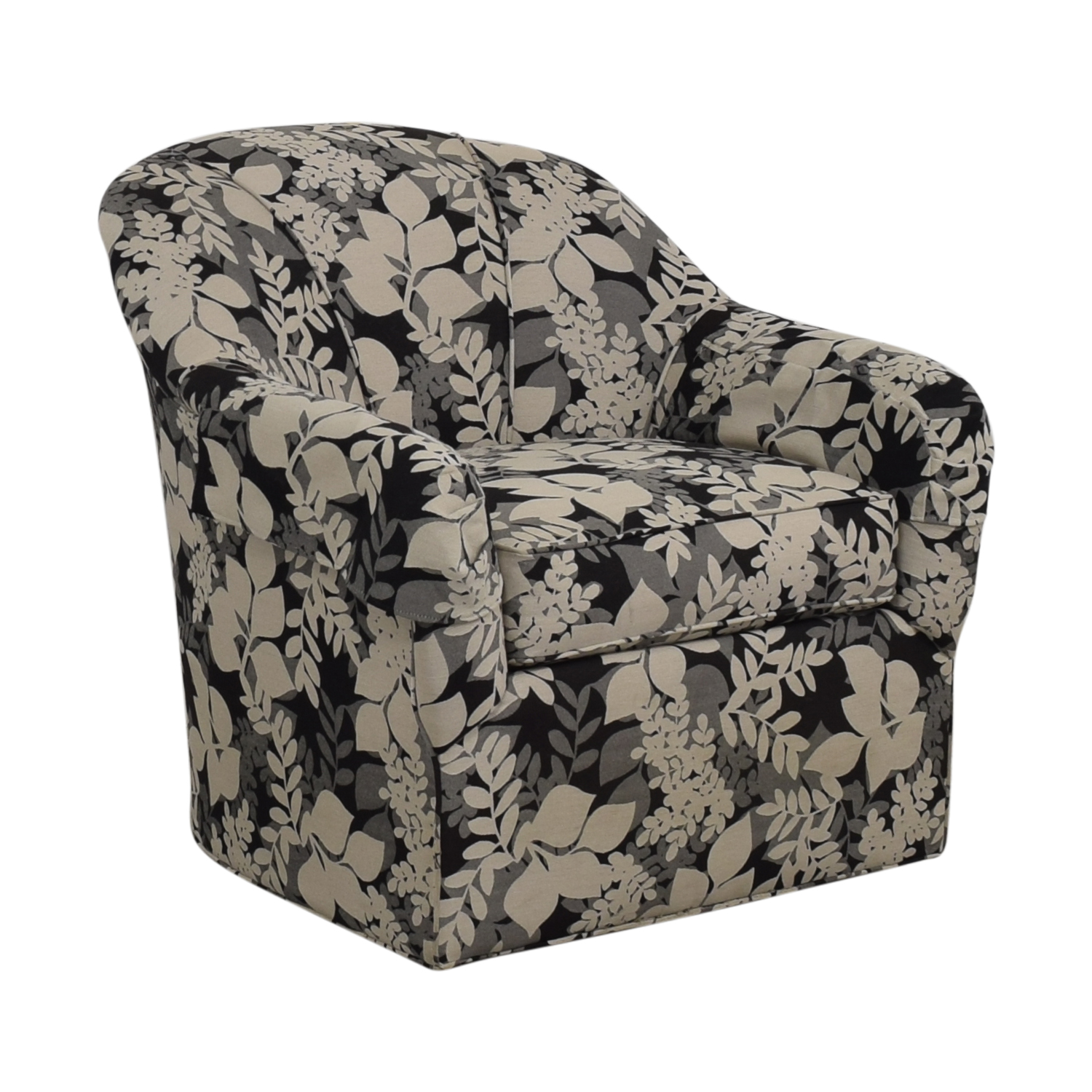 Ethan Allen Ethan Allen Black White and Grey Leaf Pattern Swivel Arm Chair discount