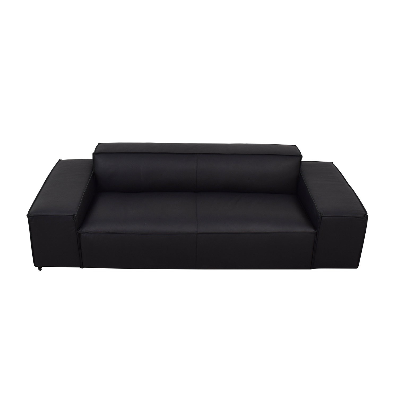 80% OFF - Gray Black Leather Sofa / Sofas