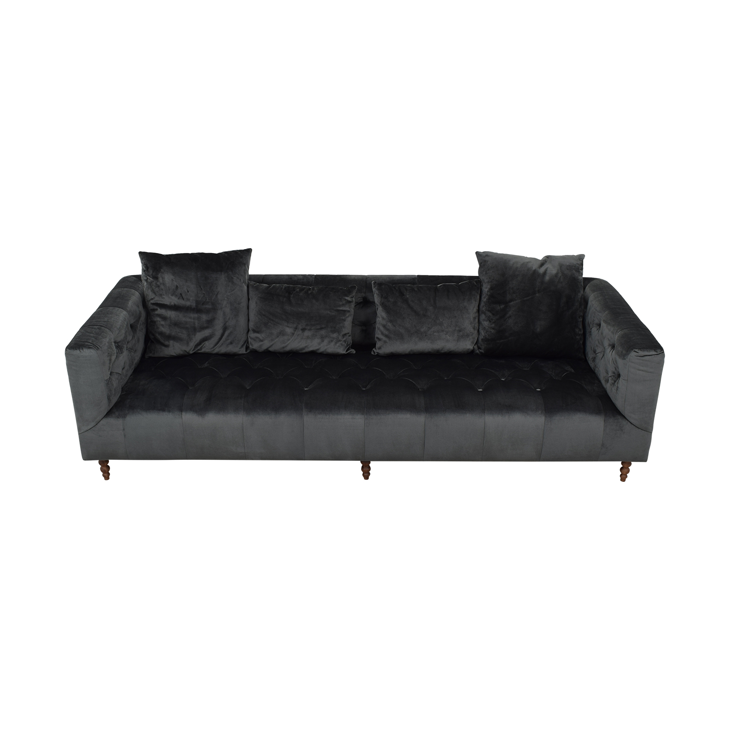 buy Gray Ms. Chesterfield Mod Velvet Sofa  Sofas