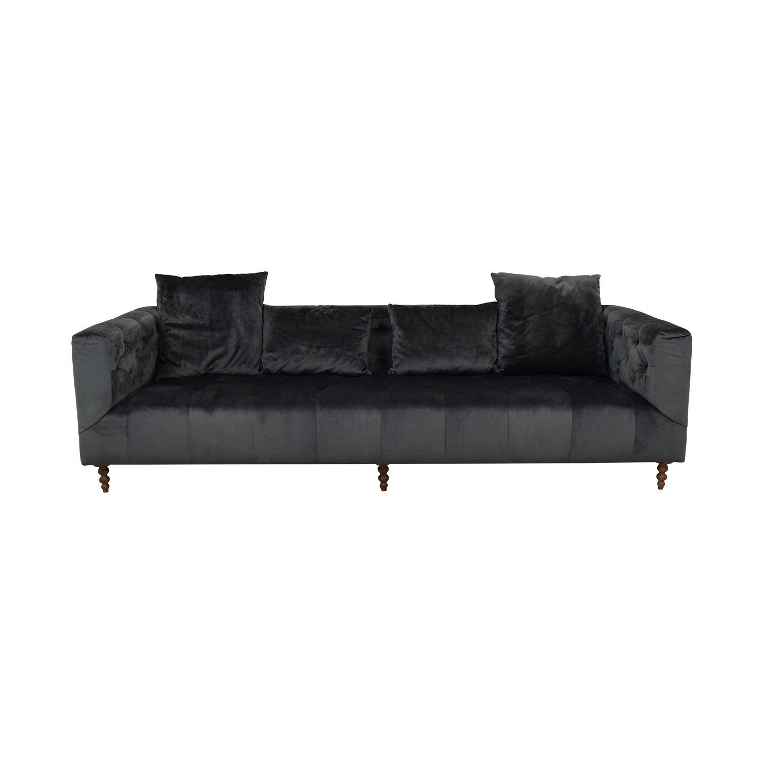 shop Gray Ms. Chesterfield Mod Velvet Sofa