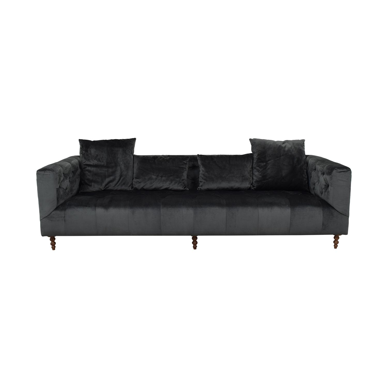 Gray Ms. Chesterfield Mod Velvet Sofa Gray