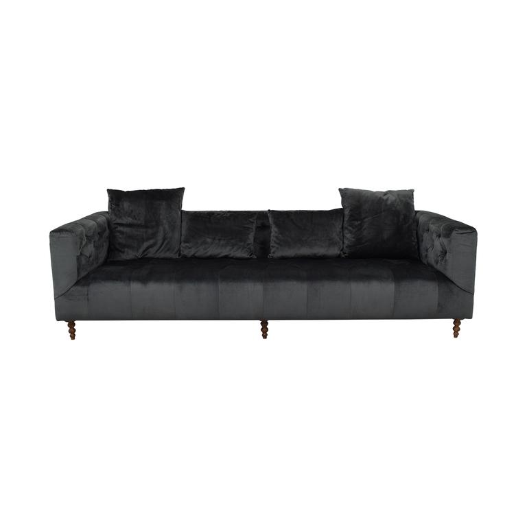buy  Gray Ms. Chesterfield Mod Velvet Sofa online
