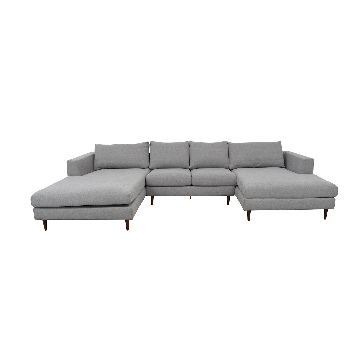 Asher Performance Felt Ash U-Shaped Double Chaise Sectional Sofas