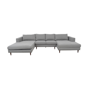 Asher Performance Felt Ash U-Shaped Double Chaise Sectional for sale