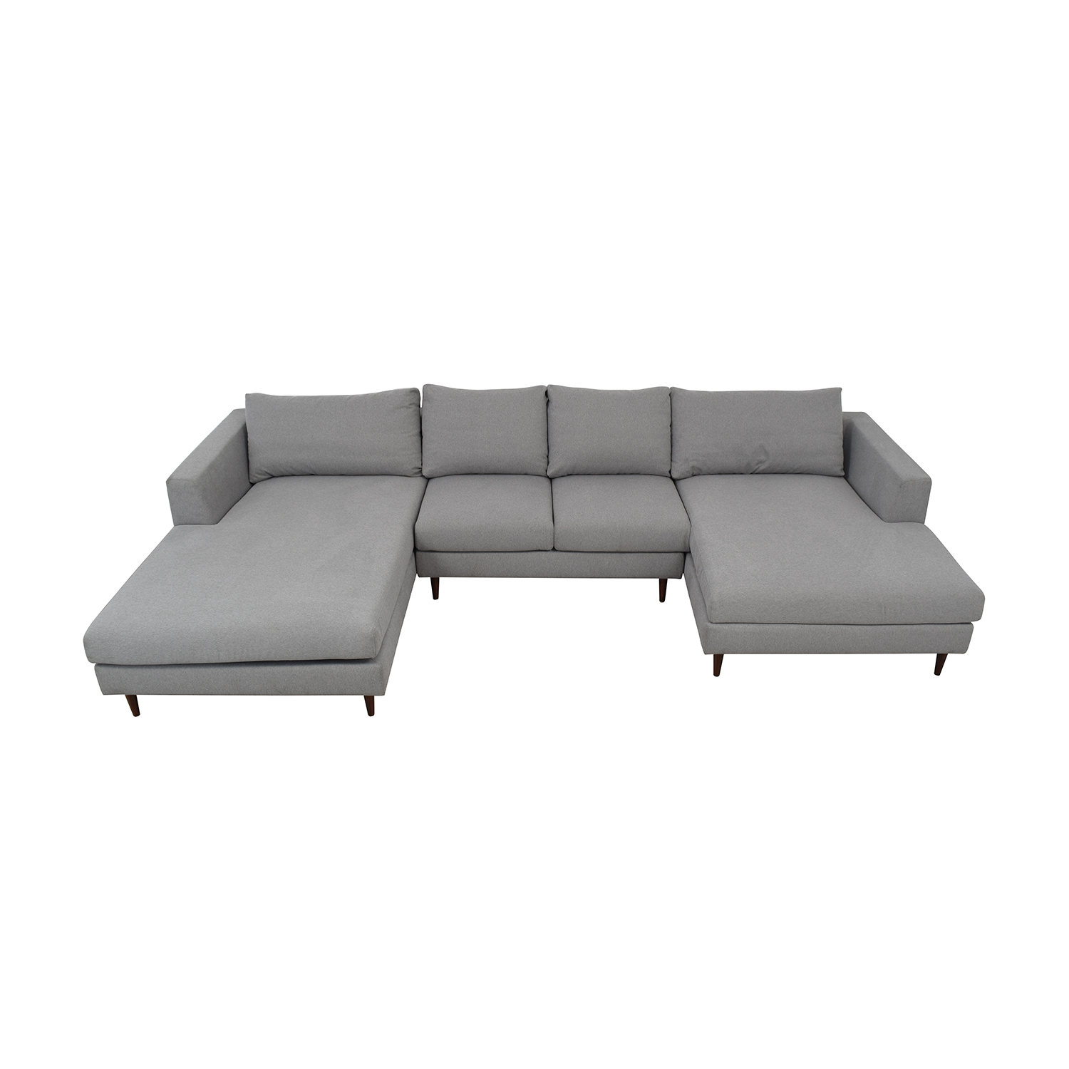 Asher Performance Felt Ash U-Shaped Double Chaise Sectional / Sectionals