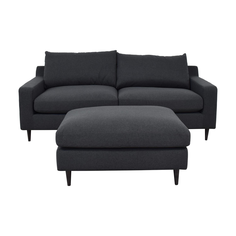 Sloan Onyx Plush Sofa and Ottoman dimensions