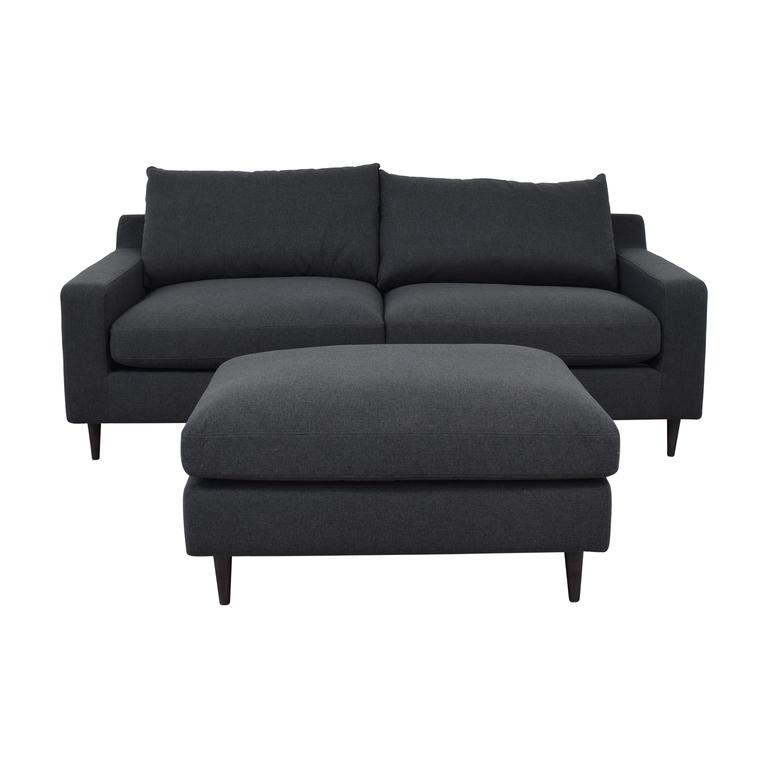 Sloan Onyx Plush Sofa and Ottoman nyc