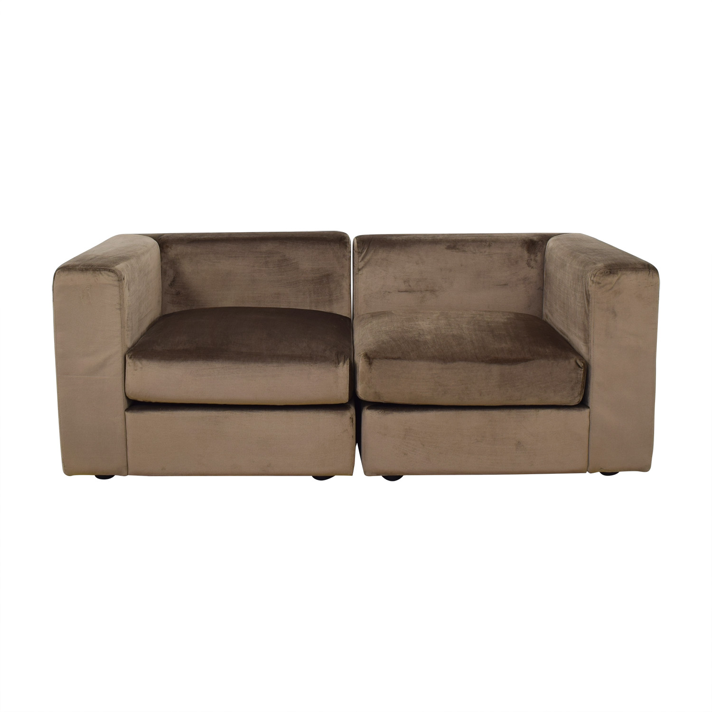 Interior Define Interior Define Toby Quartz Mod Velvet Two-Cushion Sofa or Chair Set price