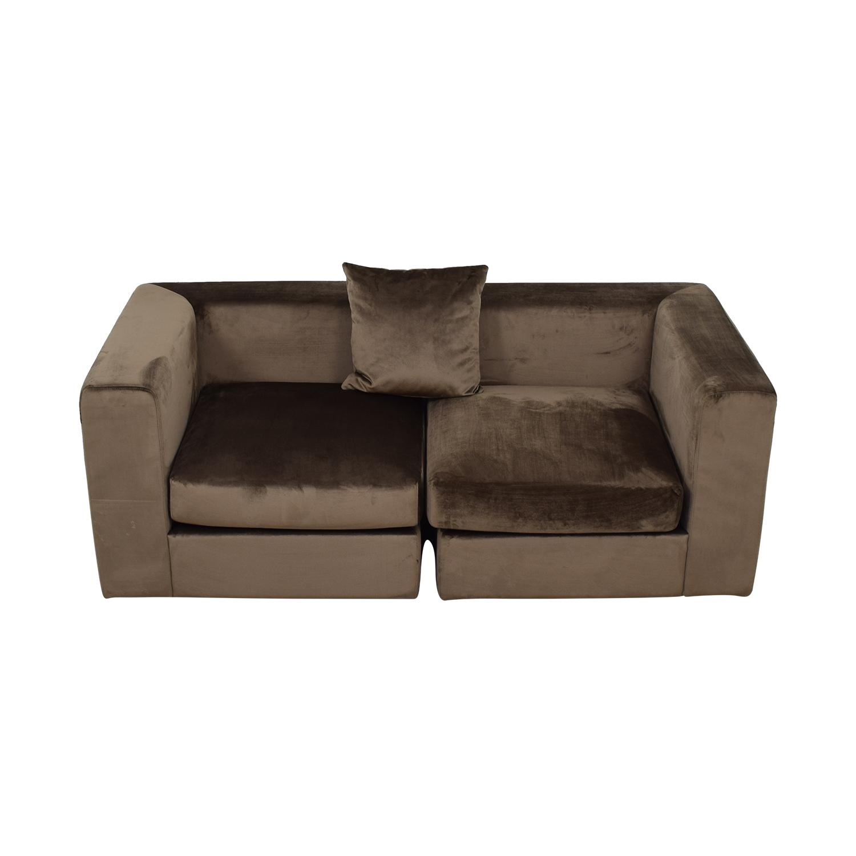 Toby Quartz Mod Velvet Two-Cushion Sofa dimensions