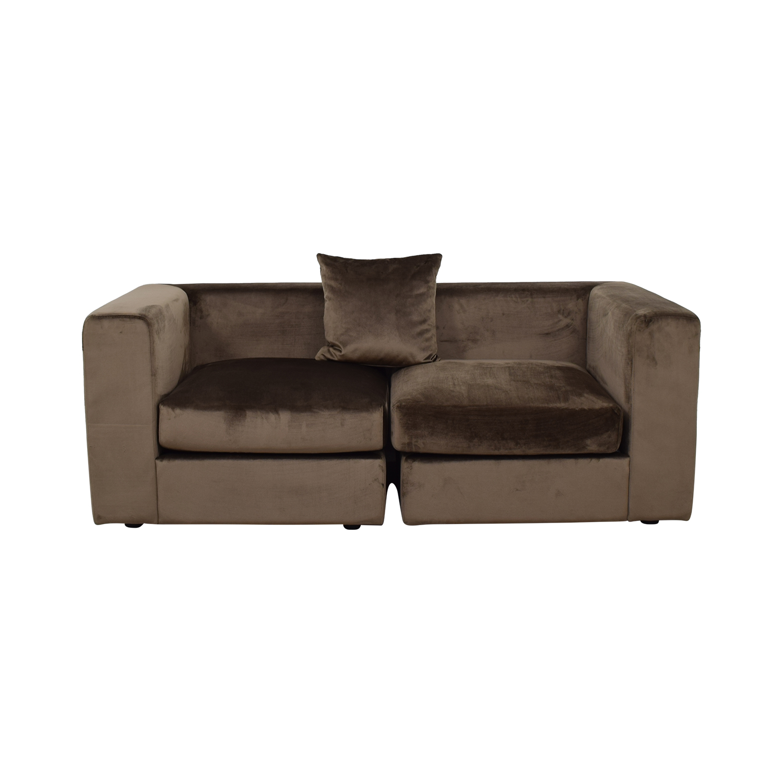 buy Toby Quartz Mod Velvet Two-Cushion Sofa  Classic Sofas