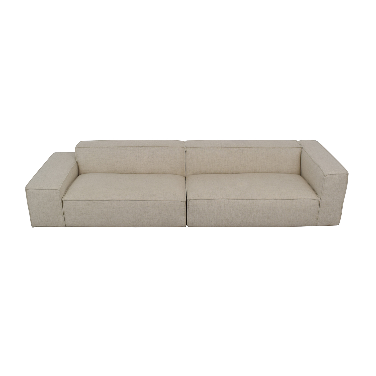 Beige Left Low Right High Two Piece Pebble Weave Sectional Sofa coupon
