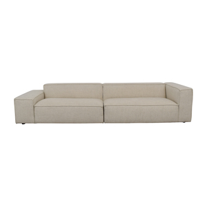 Left-Low Right-High Two-Piece Beige Pebble Weave Sectional Sofa discount