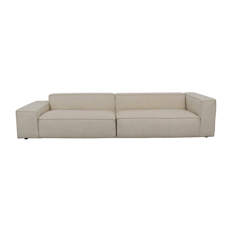 Left-Low Right-High Two-Piece Beige Pebble Weave Sectional Sofa coupon