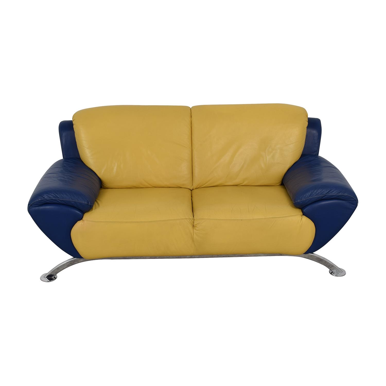 Sensational 88 Off Satis Satis Modern Yellow And Blue Leather Two Cushion Sofa Sofas Bralicious Painted Fabric Chair Ideas Braliciousco