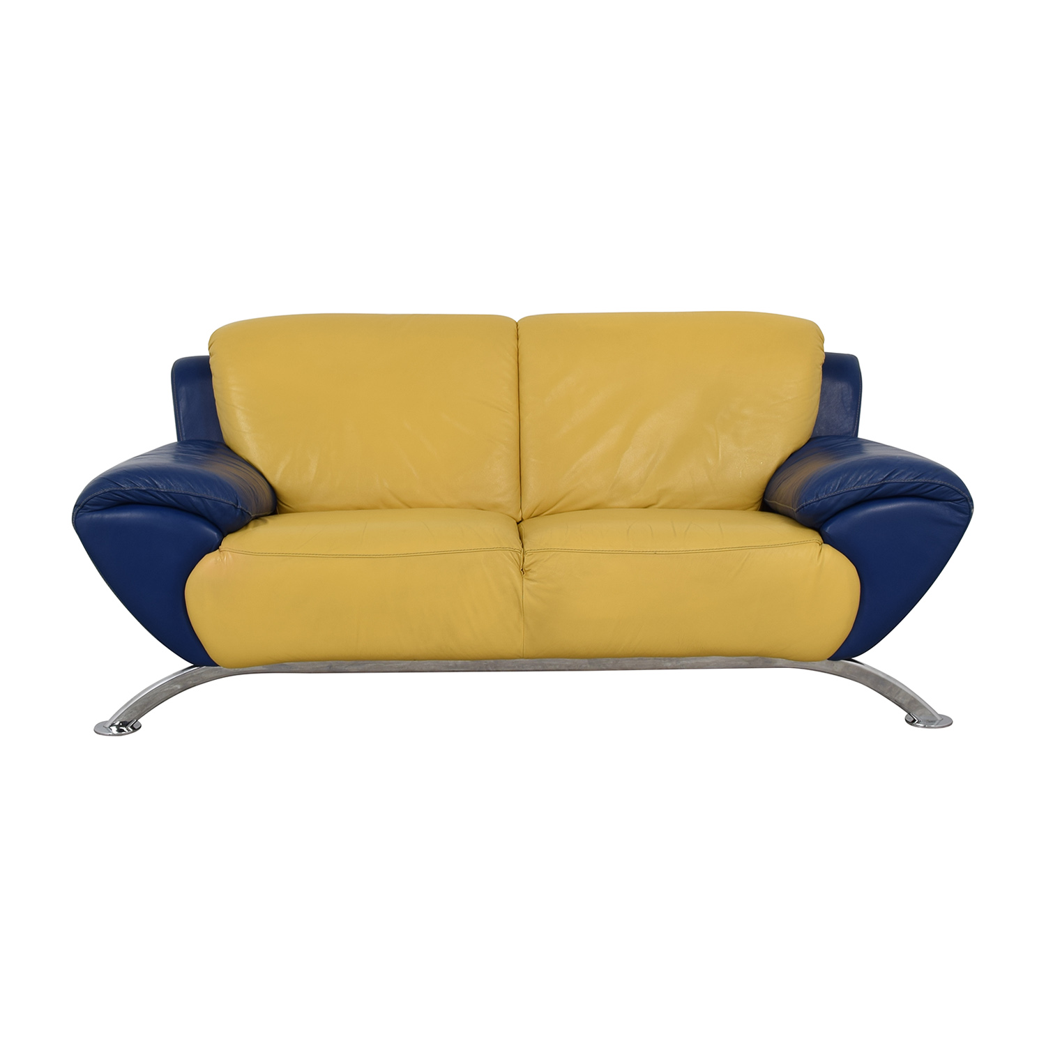 buy Modern Yellow and Blue Leather Two Cushion Sofa  Classic Sofas
