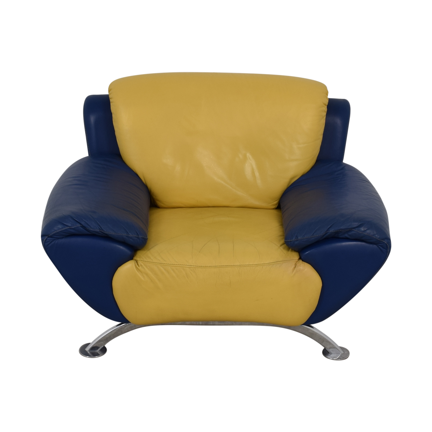 Satis Modern Yellow And Blue Leather Accent Chair Price
