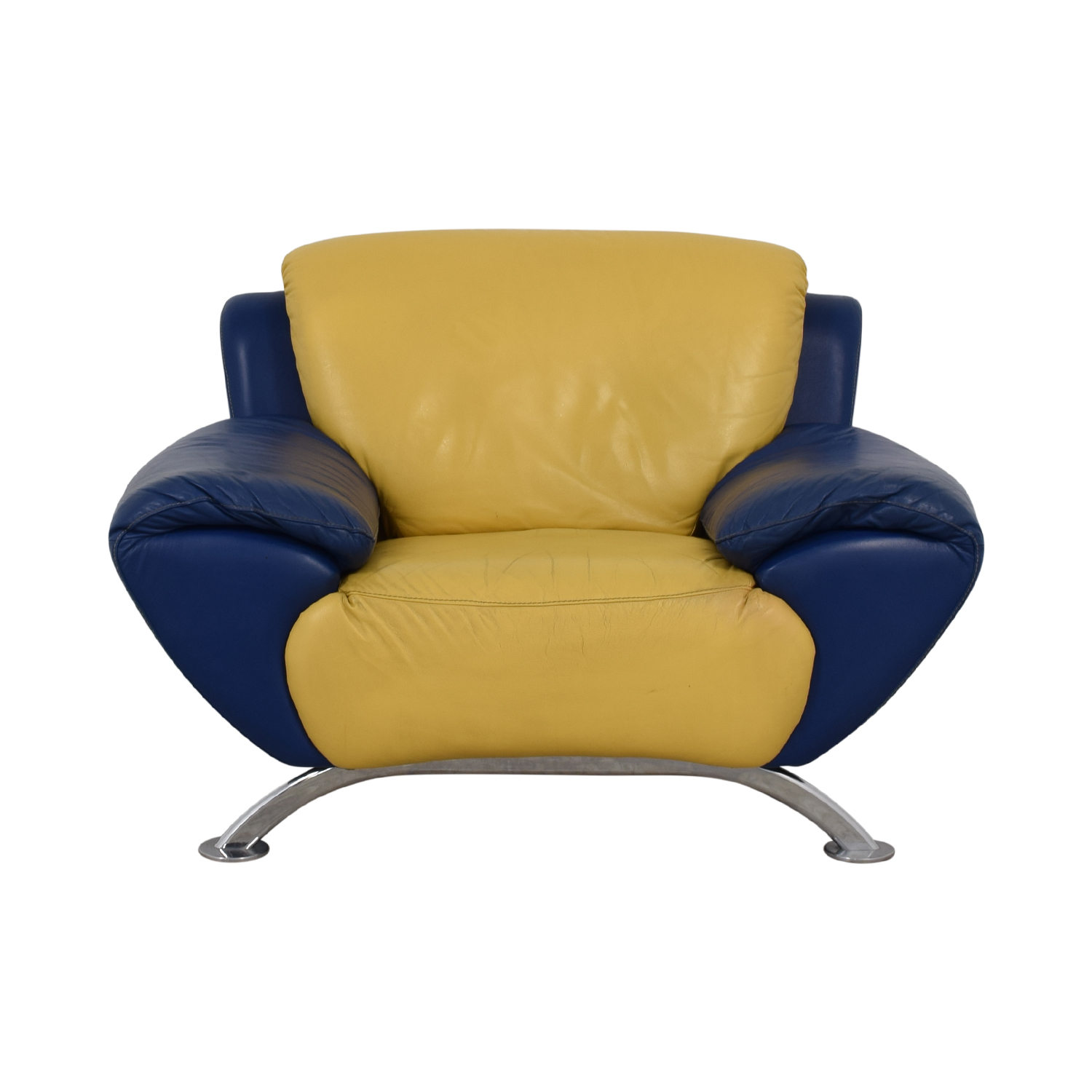 buy Satis Modern Yellow and Blue Leather Accent Chair Satis Accent Chairs