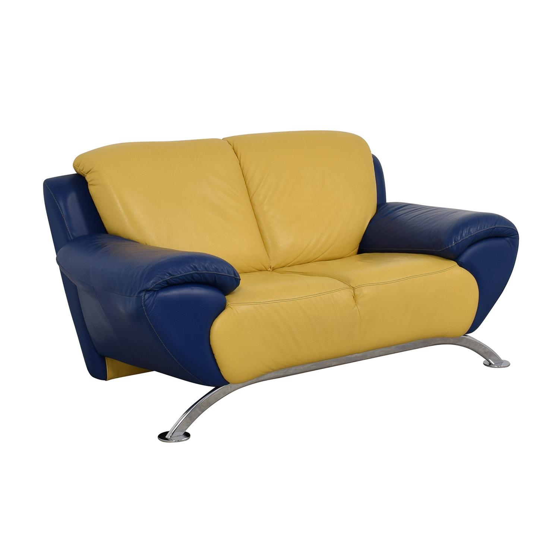 90% OFF - Satis Satis Modern Yellow and Blue Leather Loveseat / Sofas