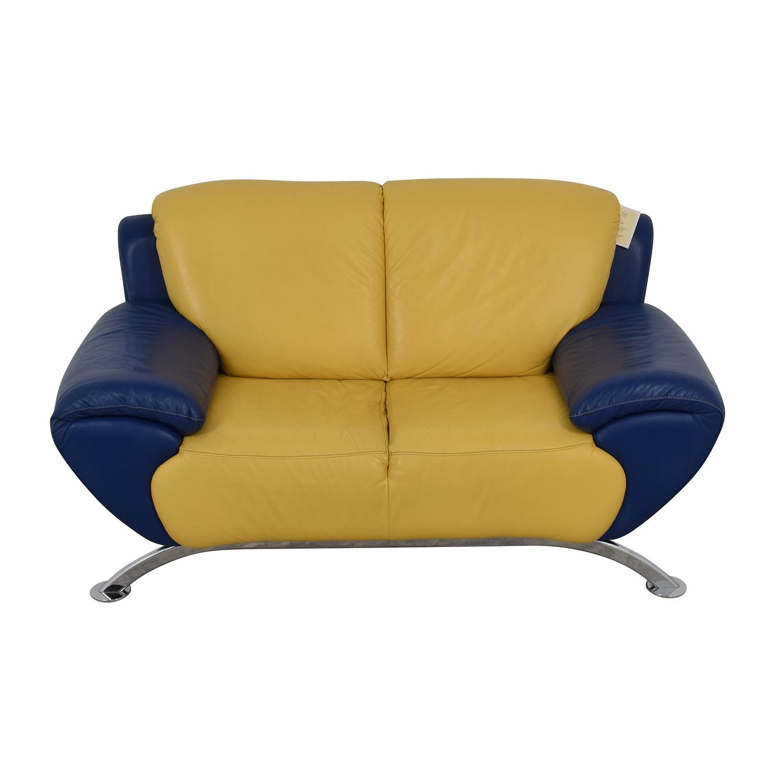 Satis Modern Yellow and Blue Leather Loveseat / Loveseats
