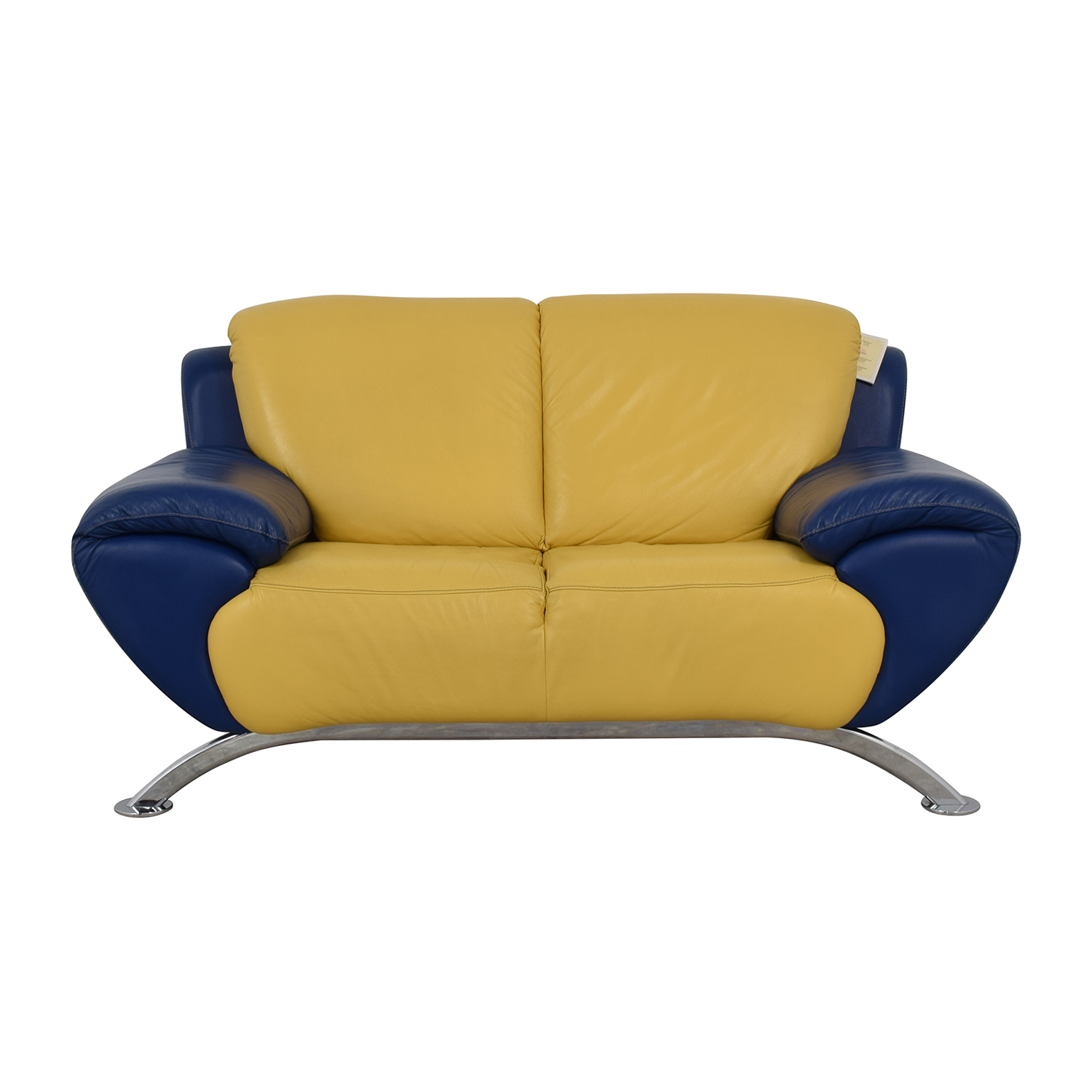 Satis Modern Yellow and Blue Leather Loveseat / Loveseats