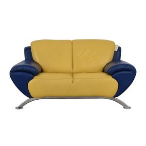 shop Satis Modern Yellow and Blue Leather Loveseat Satis