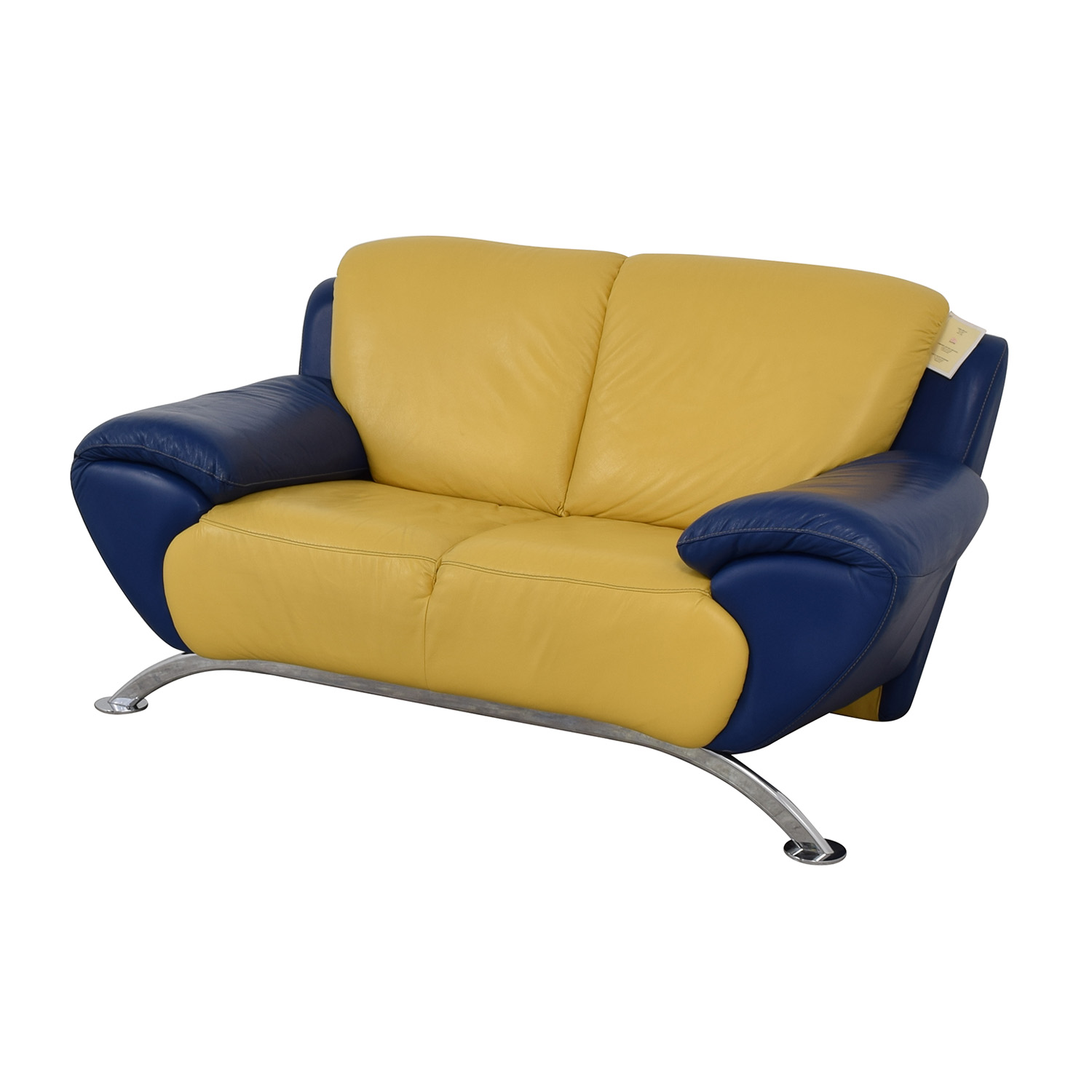 Satis Satis Modern Yellow and Blue Leather Loveseat for sale