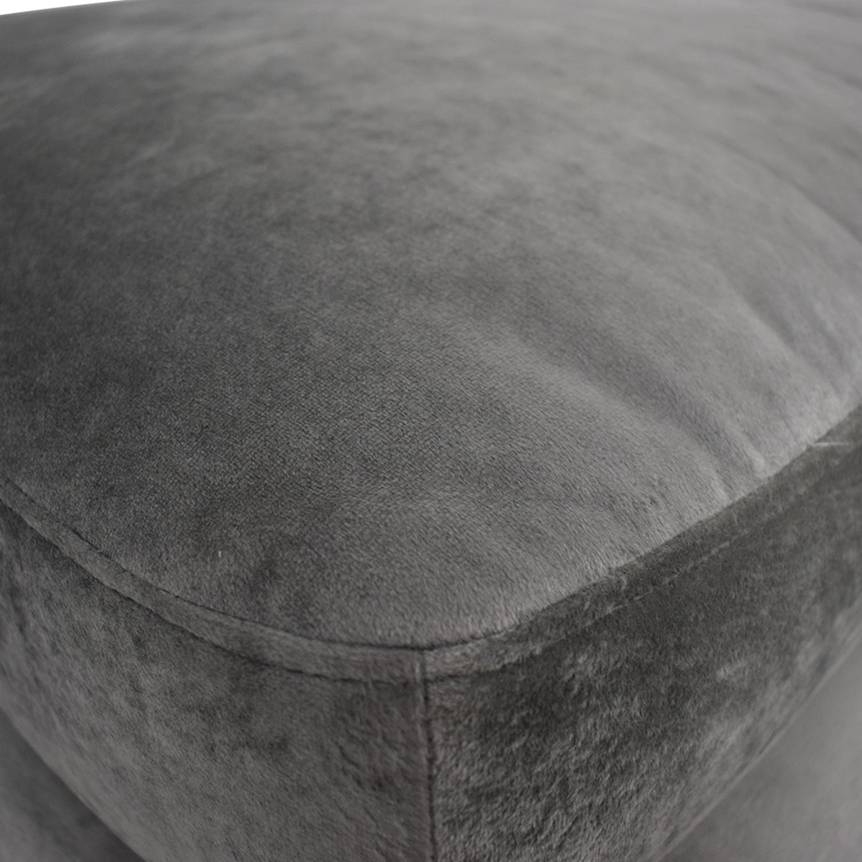 Sloan Greige Grey Velvet Ottoman used
