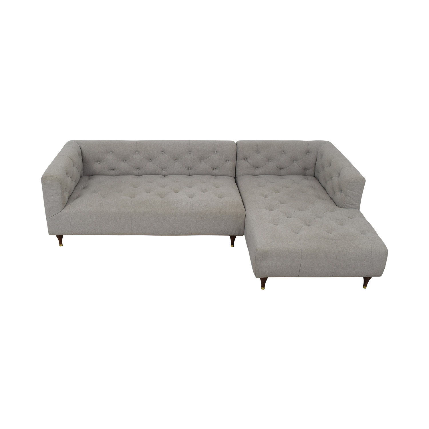 Ms. Chesterfield Grey Plush Right Chaise Sectional for sale