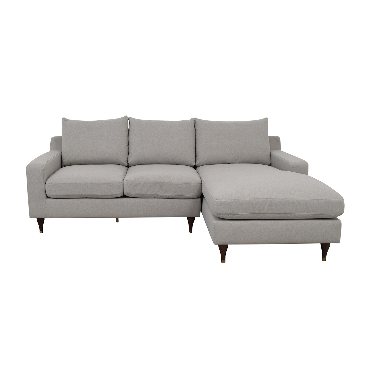 Sloan Beige Plush Right Chaise Sectional nyc