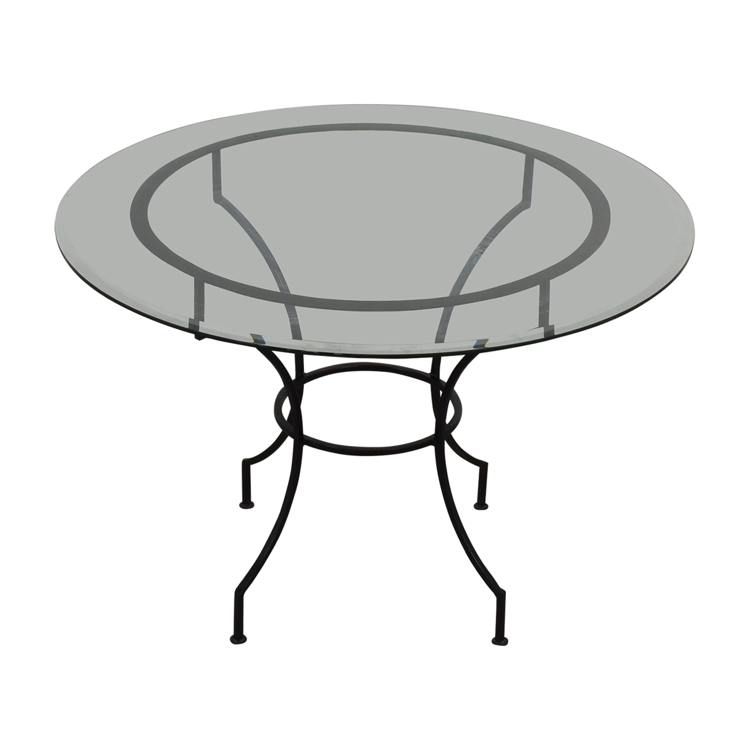 Pottery Barn Round Glass and Iron Base Table / Tables
