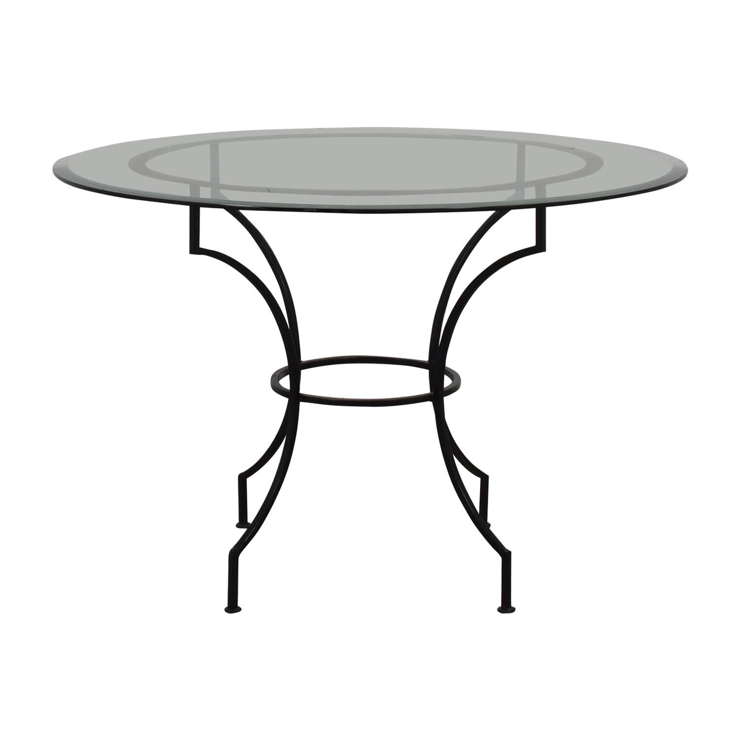 Pottery Barn Round Glass and Iron Base Table Pottery Barn