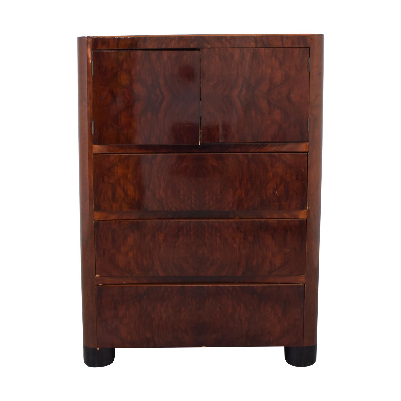 Depression Modern Art Deco Five Drawer Dresser brown
