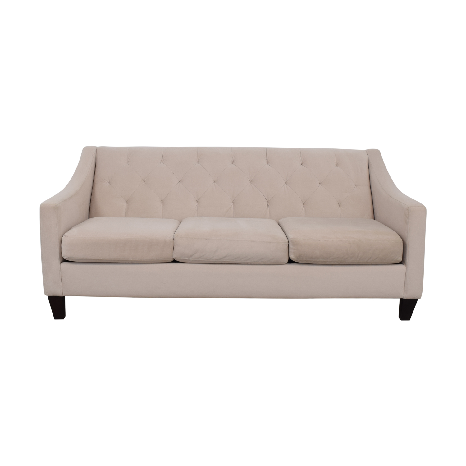 Max Home Furniture Max Home Furniture White Tufted Microfiber Three-Cushion Couch Classic Sofas