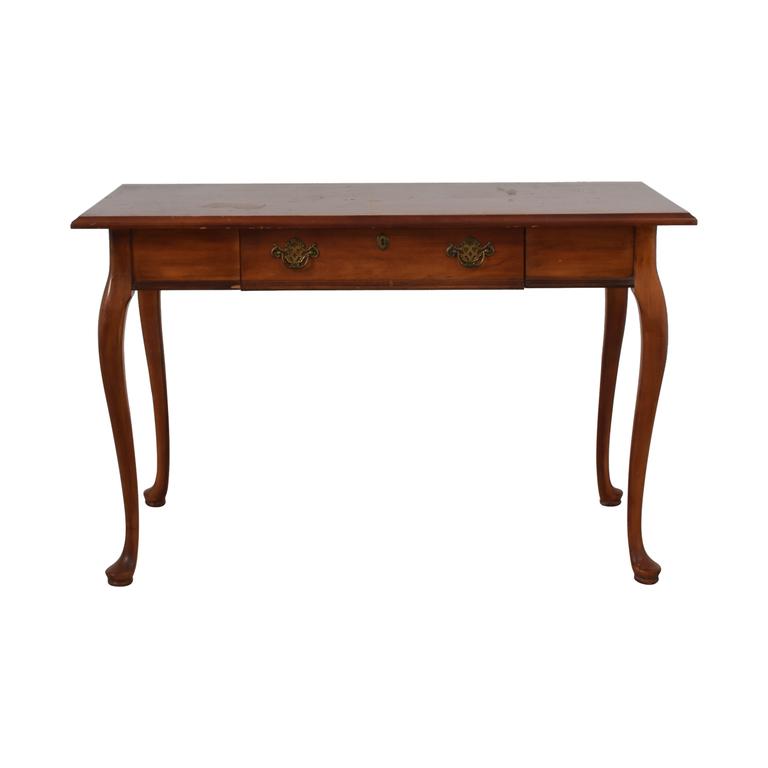 Vintage Wood Queen Anne Single-Drawer Desk Tables