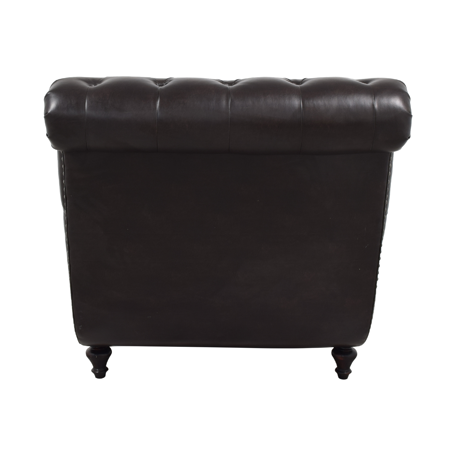 Raymour & Flanigan Raymour & Flanigan Sumter Brown Tufted Leather Chaise dimensions