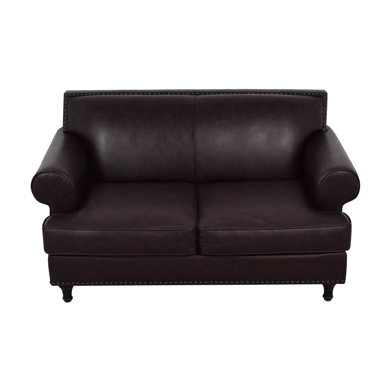 shop Pier 1 Imports Brown Leather Love Seat Pier 1 Imports
