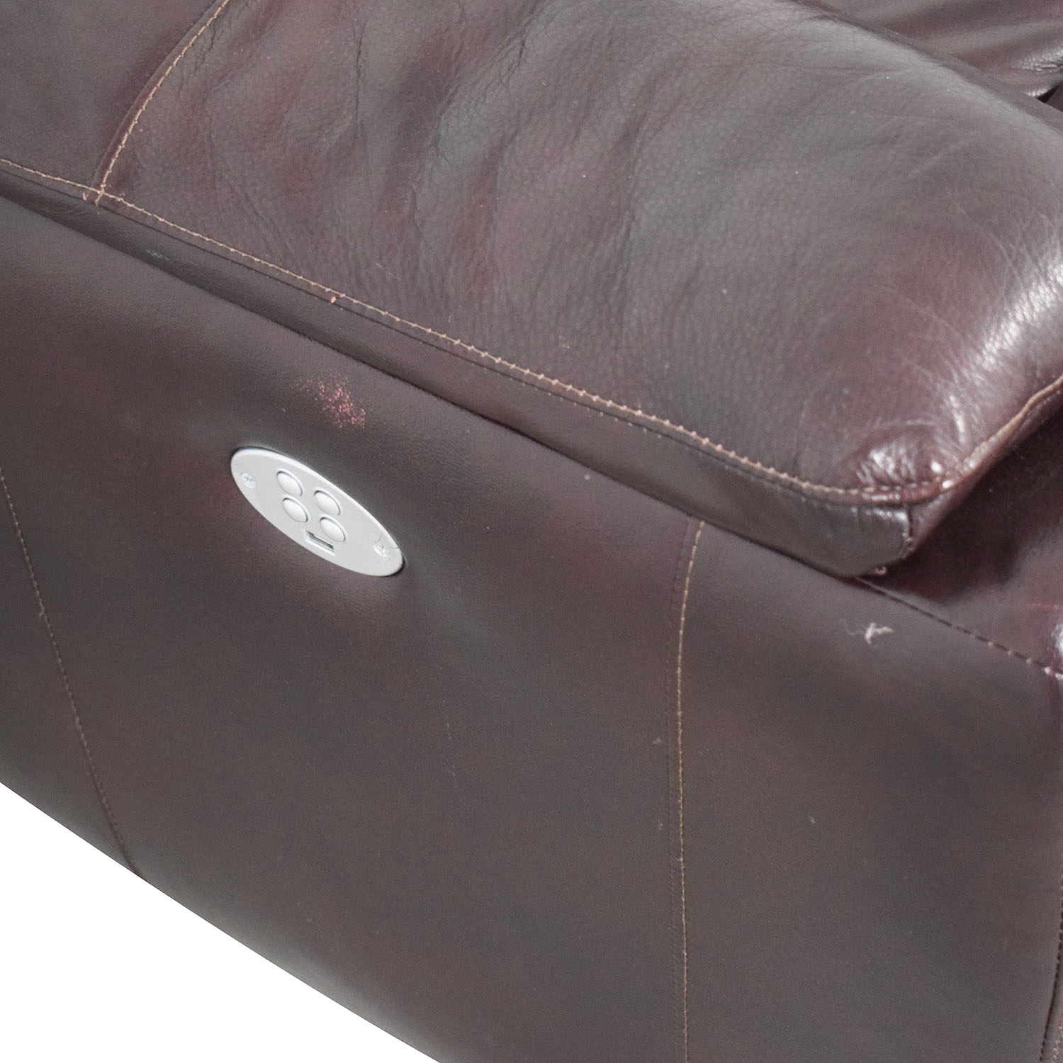 Raymour & Flanigan Brown Leather Electric Recliner / Loveseats