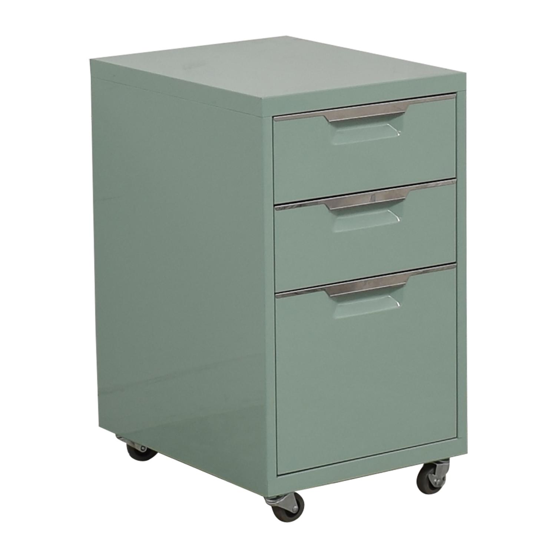 CB2 CB2 Green Three-Drawer Filing Cabinet on sale
