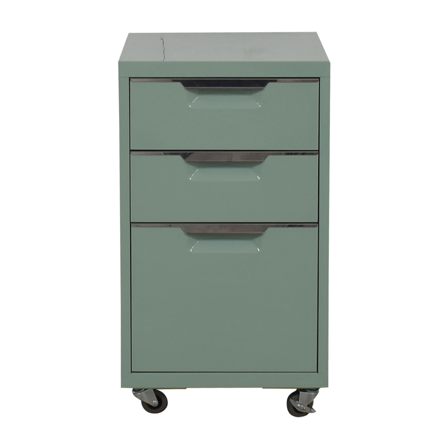 shop CB2 Green Three-Drawer Filing Cabinet CB2