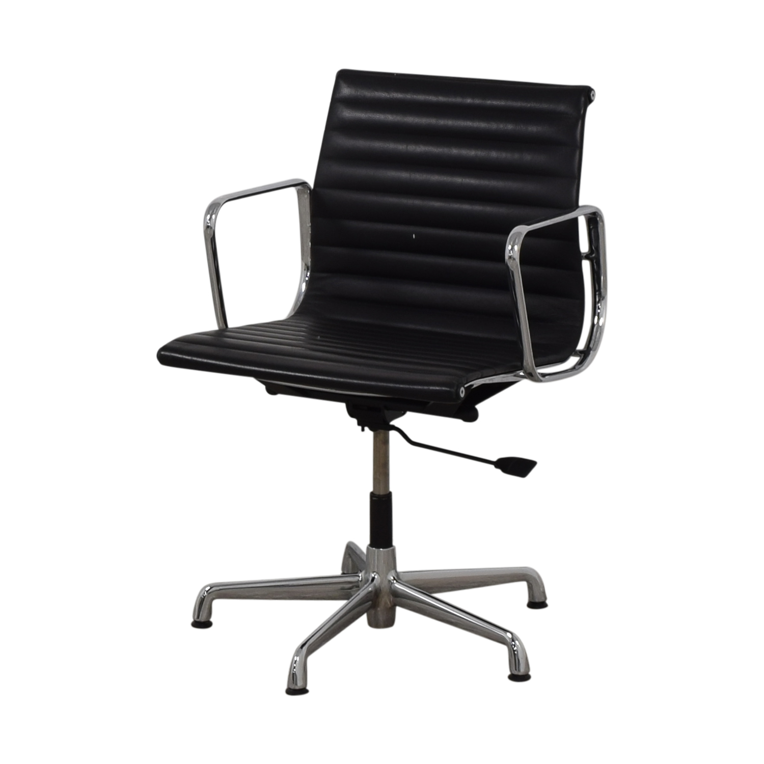 Herman Miller Herman Miller Eames Aluminum Black Leather Office Chair