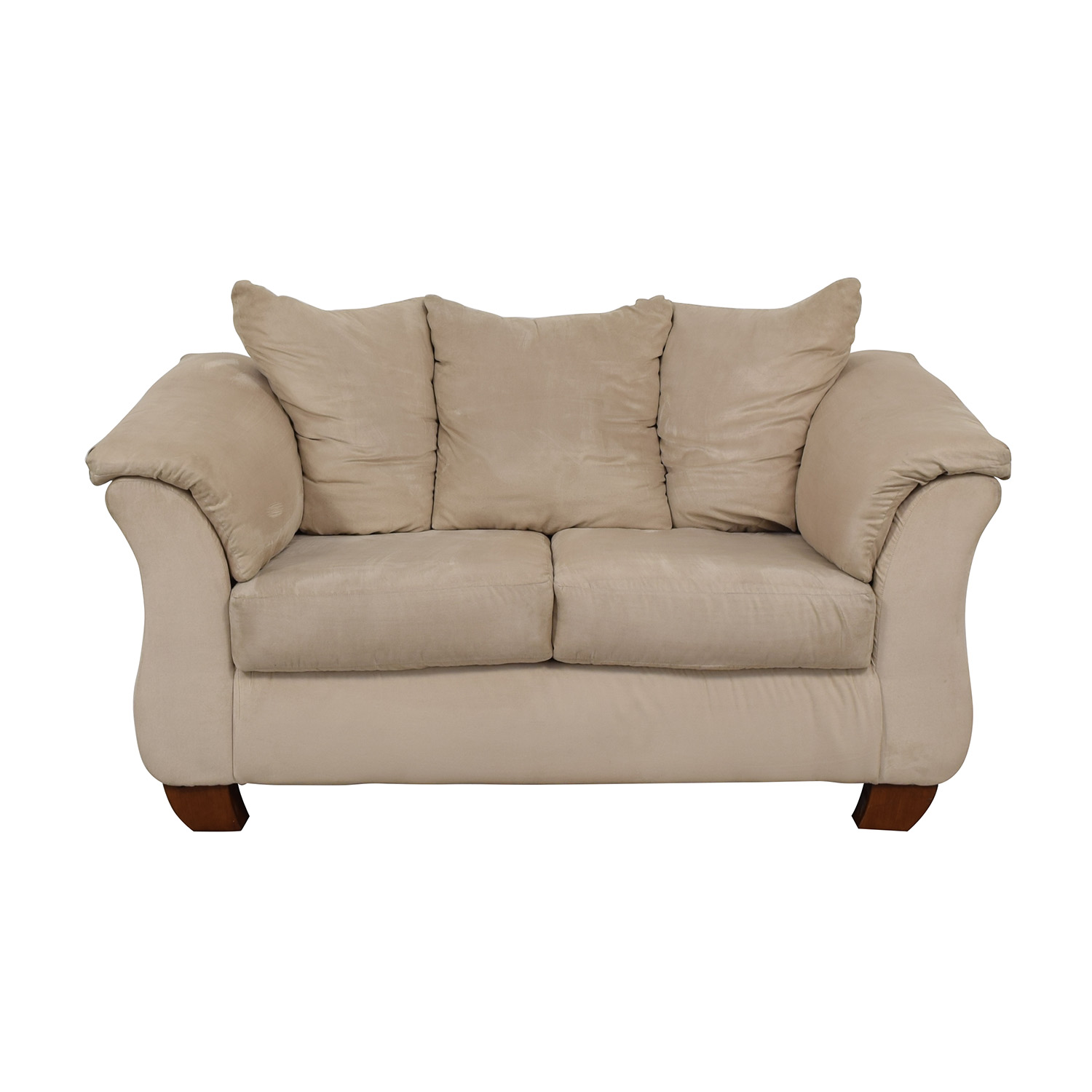 shop Beige Suede Two-Cushion Couch
