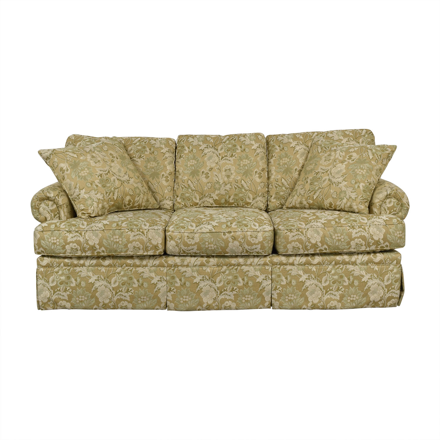 Drexel Heritage Drexel Heritage Natalie Gold Floral Three-Cushion Sofa nj