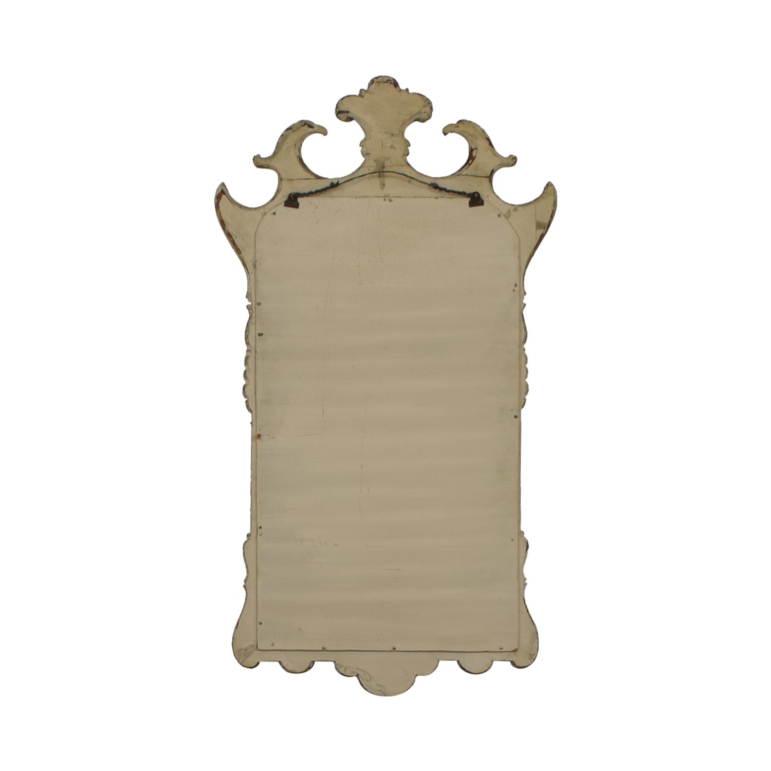 Distressed Carved Wood Framed Wall Mirror