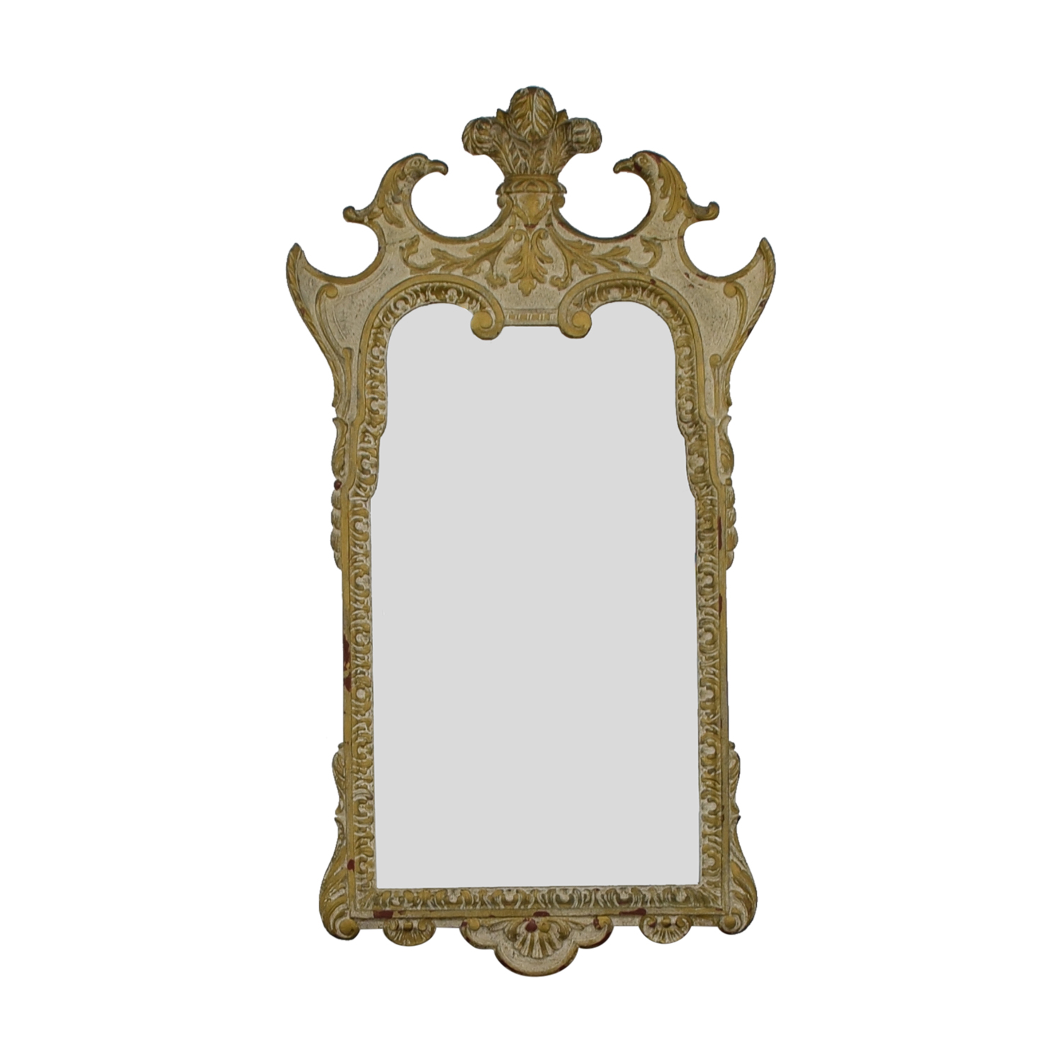 Distressed Carved Wood Framed Wall Mirror Decor