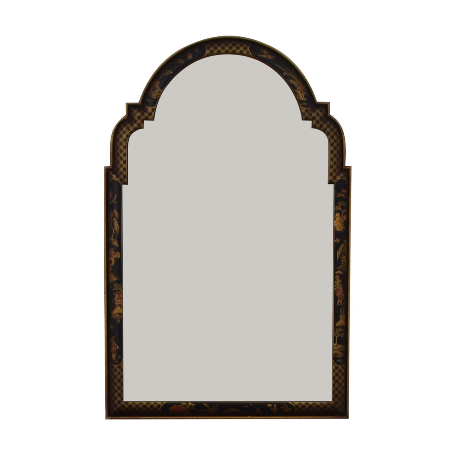 shop  Black Lacquer Frame with Japanese Drawings Wall Mirror online