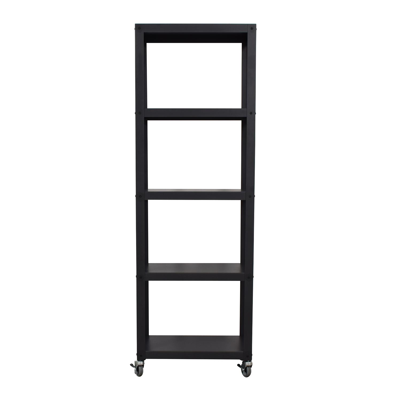 buy CB2 Go Cart Black Five Shelf Rolling Bookcase CB2 Storage