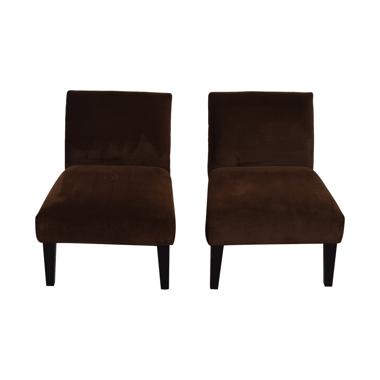 Brown Armless Side Chairs used