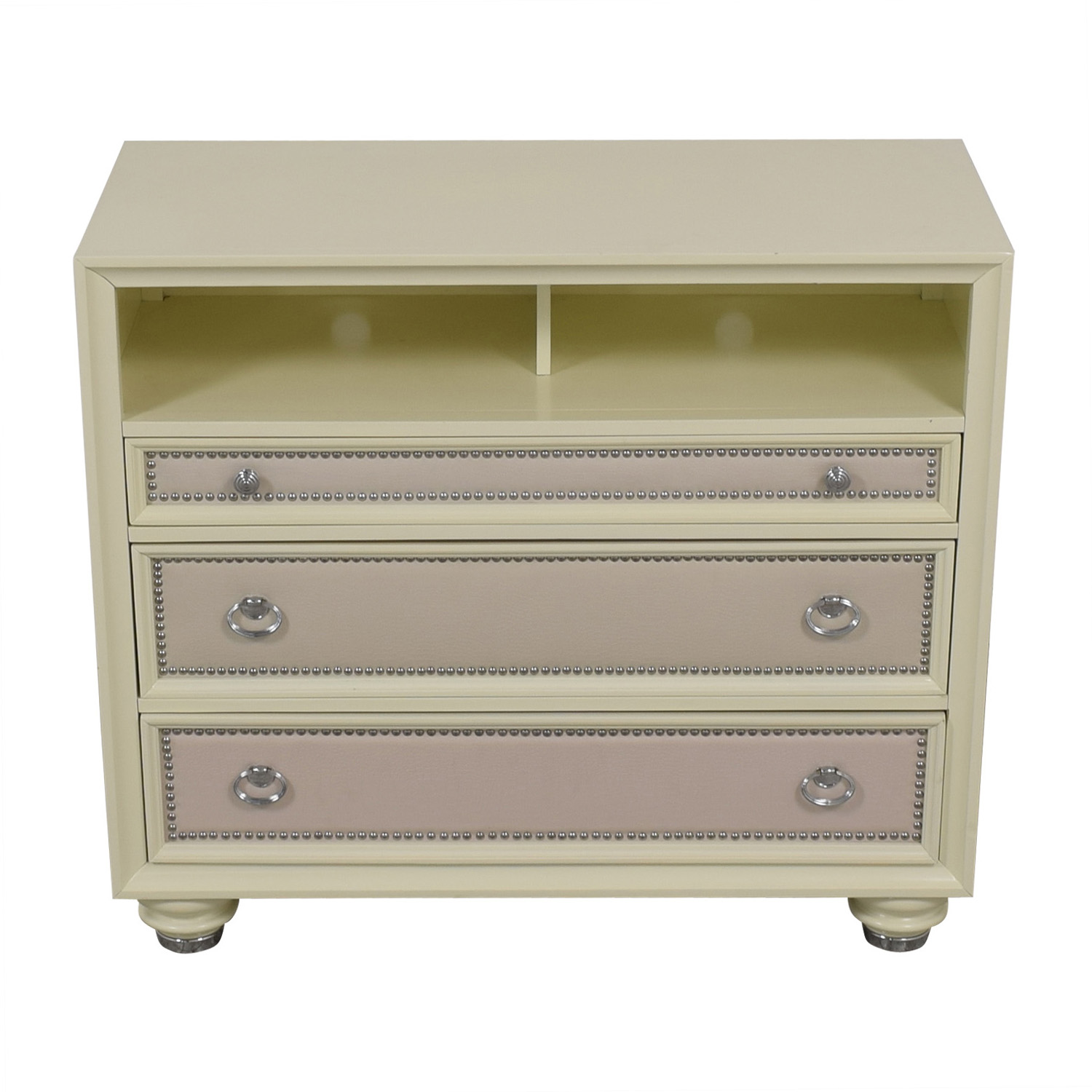 shop Magnussen White Three-Drawer Embossed Nailhead Media Cabinet Magnussen