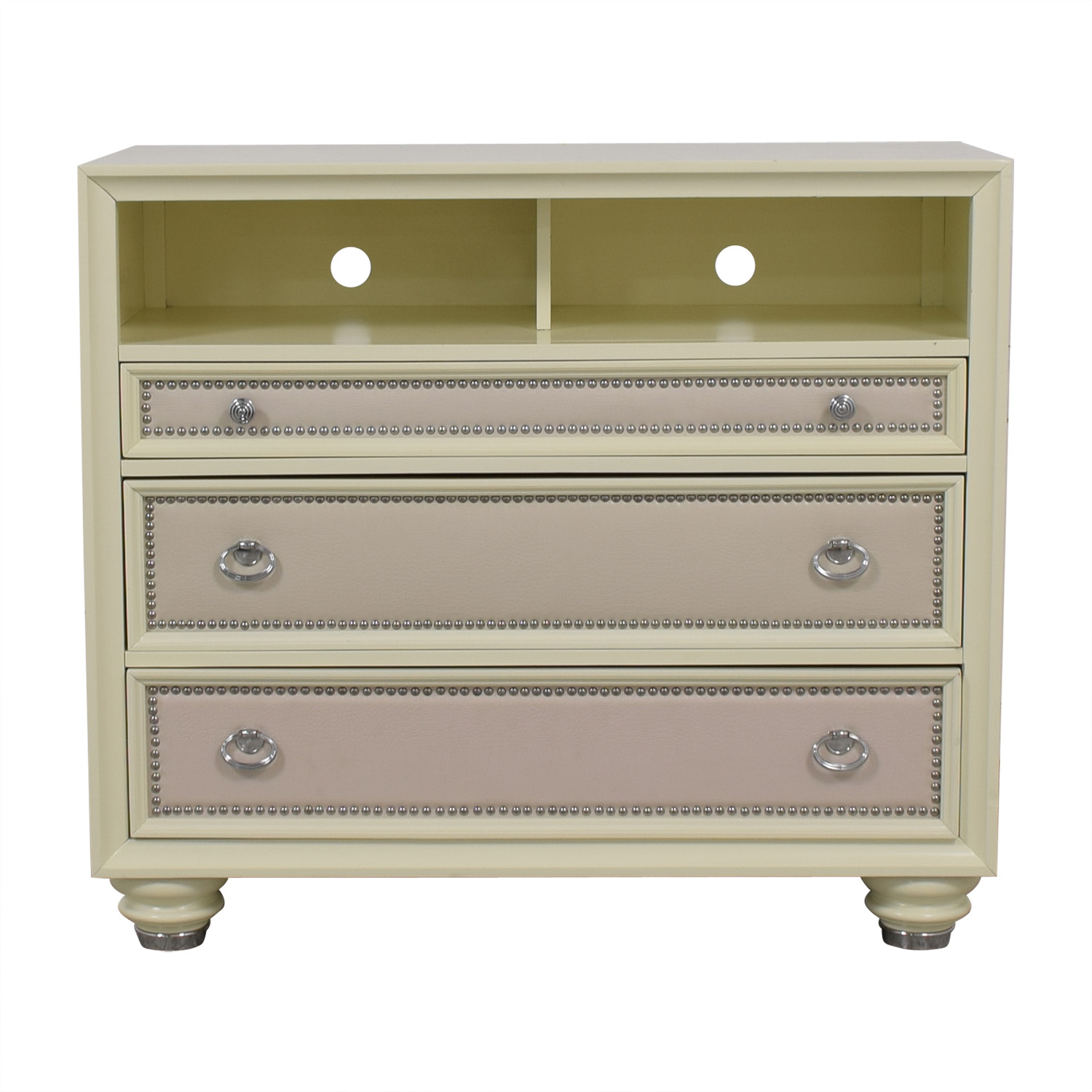 Magnussen White Three-Drawer Embossed Nailhead Media Cabinet / End Tables